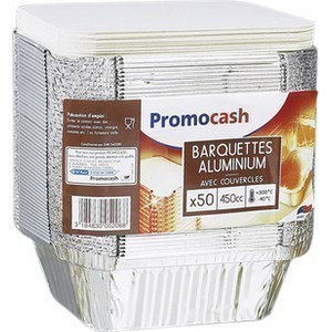 Barquettes en aluminium 450 cc. avec couvercle PROMOCASH - le paquet de 50 barquettes. - Bazar - Promocash Albi