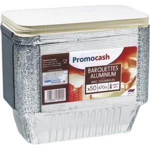 Barquettes en aluminium 670 cc. avec couvercle PROMOCASH - le paquet de 50 barquettes. - Bazar - Promocash ALENCON