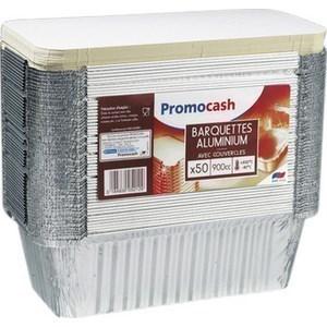 Barquettes en aluminium 900 cc. avec couvercle PROMOCASH - le paquet de 50 barquettes. - Bazar - Promocash Libourne