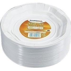 Assiettes rondes blanches Diamètre de 170 mm. PROMOCASH - le sachet de 100 assiettes. - Bazar - Promocash Montluçon