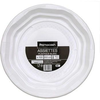 Assiettes plastique blanc diamètre 22 cm x100 - Bazar - Promocash Ales