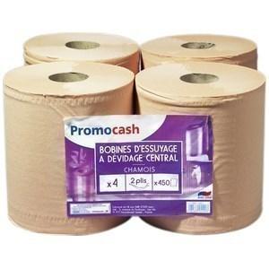 Bobine d'Essuyage PROMOCASH - le lot de 4 pièces - 450 feuilles - 2 plis - Hygiène droguerie parfumerie - Promocash Aurillac
