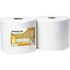 Bobine 2 plis blanc PROMOCASH - le lot de 2 de 1000 feuilles - 2 plis - Hygiène droguerie parfumerie - Promocash Montluçon