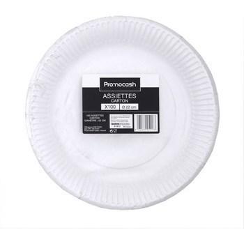 Assiettes carton D22 cm x100 - Bazar - Promocash Rodez