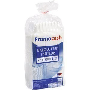 Barquettes translucides 350 cc. PROMOCASH - le paquet de 250 barquettes translucides. - Bazar - Promocash Pamiers