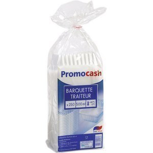Barquettes translucides 500 cc. PROMOCASH - le paquet de 250 barquettes translucides. - Bazar - Promocash Castres