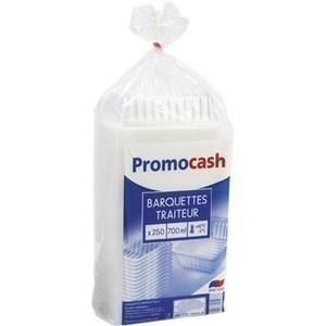 Barquettes translucides 700 cc. PROMOCASH - le paquet de 250 barquettes translucides. - Bazar - Promocash Annecy
