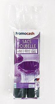 Sacs poubelles noirs PROMOCASH - le sac de 50 pièces de 100 litres - 45 oe - Bazar - Promocash Albi