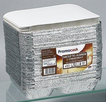 Barquettes aluminium 2 compartiments + couvercles aluminisés - Bazar - Promocash Avignon