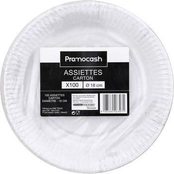 Assiettes carton D18 cm x100 - Bazar - Promocash Morlaix