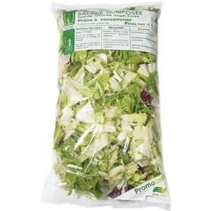 Salade composée scarole/chicorée rouge/frisée - 1 kg - transformé en France - en sachet - Fruits et légumes - Promocash Amiens