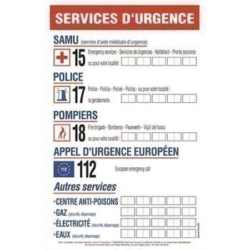 Pancarte consignes 'Services d'Urgence' 20x30 cm - Bazar - Promocash Brive