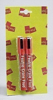 Feutres craie rouges fluo petit modèle - le lot de 2 - Bazar - Promocash Alencon