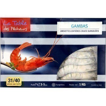 Gambas crevettes entières crues 1 kg - Surgelés - Promocash Bourgoin