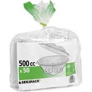 Bol salade transparent à couvercle déchirable 500 cc SEKIPACK- Le paquet de 50 - Bazar - Promocash Charleville