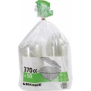 Bol salade transparent à couvercle déchirable 370 cc SEKIPACK- le paquet de 50 - Bazar - Promocash Chambéry