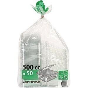 Boîte à couvercle charnière pour utilisation froide 50 ml Optipak - le paquet de 50 - Bazar - Promocash Thonon