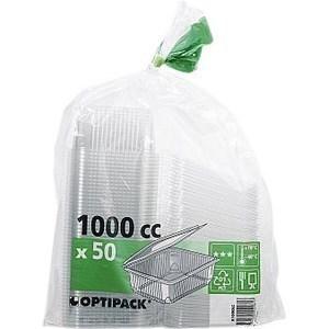 Boîte à couvercle charnière pour utilisation froide 100 ml Optipak - le paquet de 50 boîtes. - Bazar - Promocash Saint Malo