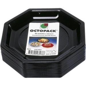 Assiette Octogonale Noire 18,5 cm - le paquet de 50. - Bazar - Promocash Guéret