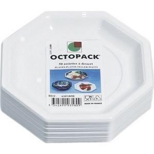 Assiette Octogonale Blanche 185 mm OCTOPAK- le paquet de 50 - Bazar - Promocash Guéret
