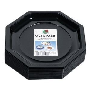 Assiette Octogonale Noire 24 cm - le paquet de 50 - Bazar - Promocash Guéret