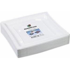 Assiettes carrées blanches 24 x 24 cm. QUADRIPACK - le paquet de 50 assiettes. - Bazar - Promocash Dunkerque