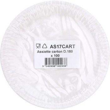 Assiette carton D180 x100 - Bazar - Promocash Saint-Dié