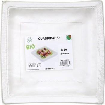 Assiette carrée plastique bio 240 mm x50 - Bazar - Promocash Morlaix