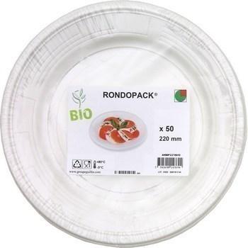 Assiette ronde plastique bio 220 mm x50 - Bazar - Promocash Valence