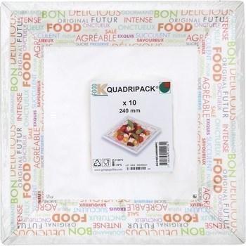 Assiettes carrées 240 mm Mots Couleurs x10 - Bazar - Promocash RENNES