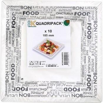 Assiettes carrées 185 mm Mots Gris x10 - Bazar - Promocash RENNES
