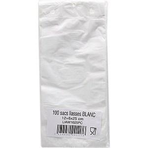 Poches blanches 12 + 6 x 25 cm - la liasse de 100 -  - Promocash Nantes