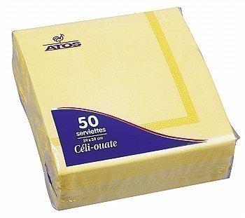 50 Serviettes céli-ouate jaunes 38x38 cm - Bazar - Promocash Amiens