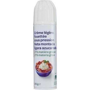 Crème légère fouettée sous pression 21% MG 250 g - Crèmerie - Promocash Gap