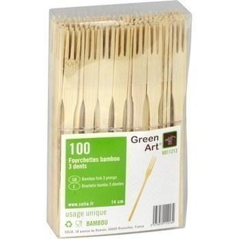 Fourchettes bambou 3 dents x100 - Bazar - Promocash Belfort