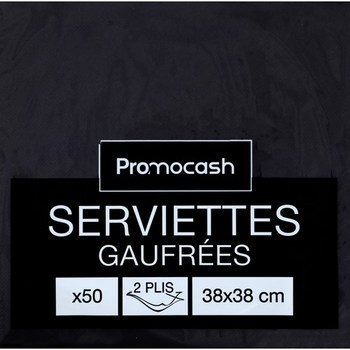 Serviettes gaufrées 2 plis 38x38 ébène x50 - Bazar - Promocash LANNION