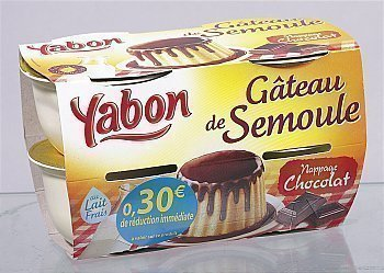Gâteau de semoule nappage chocolat - en pot de 125 g - le pack de 4 - le pack de 4 - Epicerie Sucrée - Promocash Amiens
